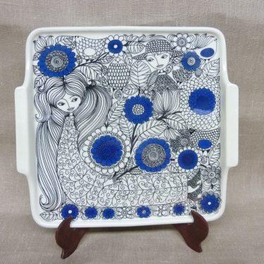 Arabia Pastoraali tarjotin, suunnittelija Esteri Tomula, serikuva, sininen, satuaihe