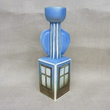 Arabia candlestick, designer Heljä Liukko-Sundström, hand-painted, blue, numbered