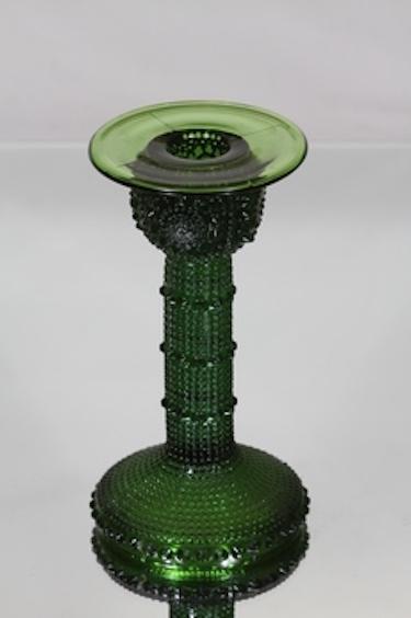 Riihimäen lasi Grapponia kynttilänjalka, vihreä, suunnittelija Nanny Still,