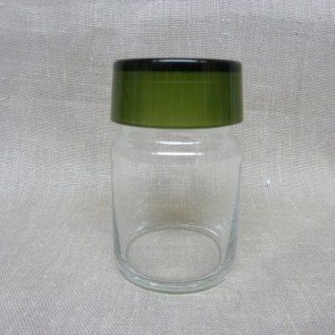 Riihimäen lasi maustepurkki, vihreä, suunnittelija Saara Hopea, lasinen, korkki