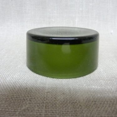 Riihimäen lasi maustepurkki, vihreä, suunnittelija Saara Hopea, lasinen, korkki kuva 2