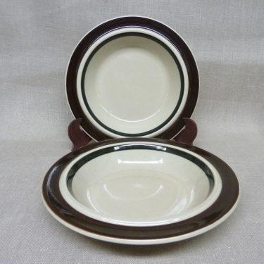 Arabia Ruija lautaset, ruskea, 2 kpl, suunnittelija Raija Uosikkinen, syvä, raitakoriste