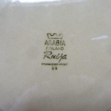 Arabia Ruija lautaset, ruskea, 2 kpl, suunnittelija Raija Uosikkinen, matala, raitakoriste