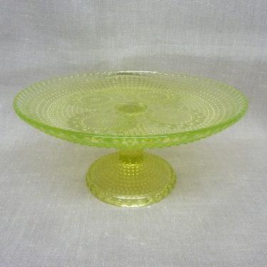 Riihimäen lasi Grapponia vati, keltainen, suunnittelija Nanny Still, jalallinen