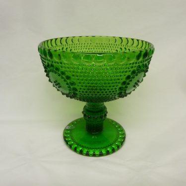 Riihimäen lasi Grapponia kulho, vihreä, suunnittelija Nanny Still, jalallinen