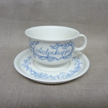 Arabia Sininen kitchen's tea cup, Äidin Kuppi, pressed decoration