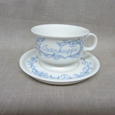Arabia Sininen keittiö teekuppi, Isän Kuppi, suunnittelija Raija Uosikkinen, Isän Kuppi, painokoriste