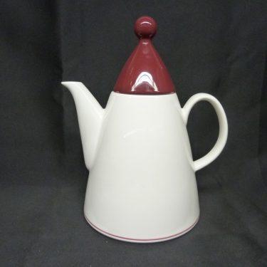 Arabia Harlekin Red hat coffee jug, white, designer Inkeri Leivo