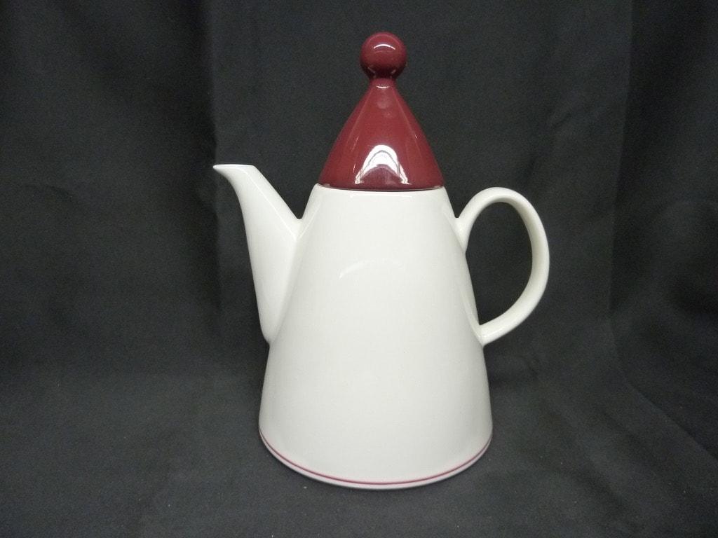 Arabia Harlekin Red hat kahvikaadin, valkoinen, suunnittelija Inkeri Leivo,