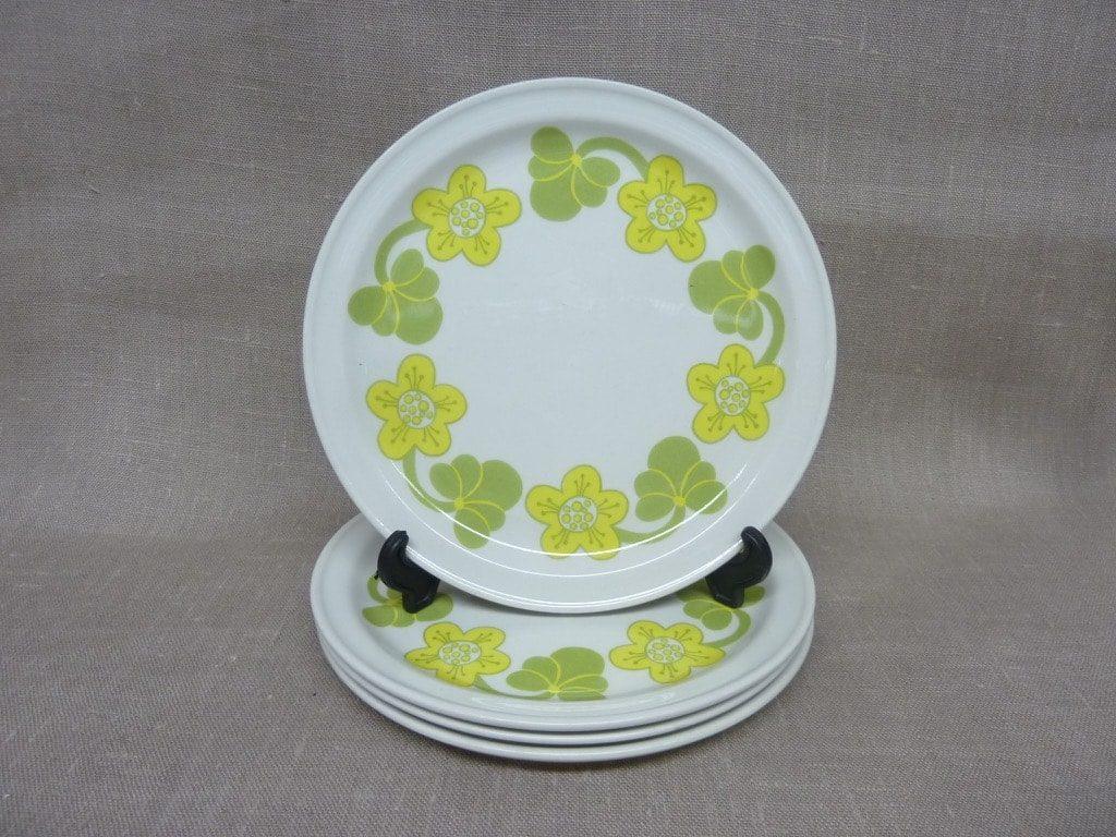 Arabia Sanna lautaset, 4 kpl, suunnittelija Inkeri Seppälä, pieni, serikuva