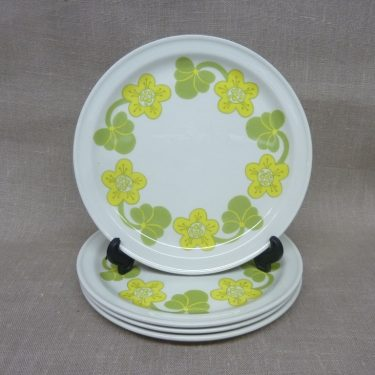 Arabia Sanna plates, 4 pcs, designer Inkeri Seppälä, small, silk screening