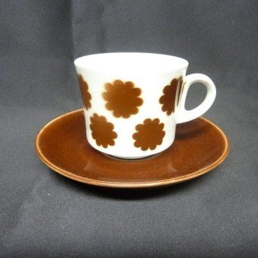 Arabia BR kahvikuppi, ruskea, suunnittelija , puhalluskoriste, retro