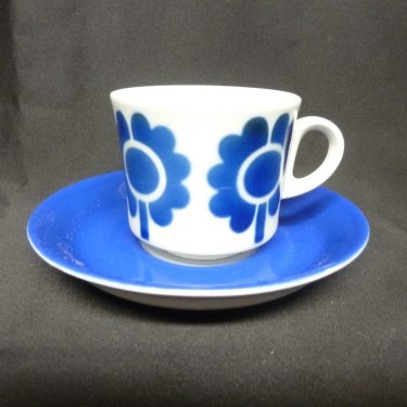 Arabia Miranda kahvikuppi, sininen, suunnittelija , puhalluskoriste, retro