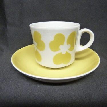 Arabia BR kahvikuppi, keltainen, suunnittelija , puhalluskoriste, retro
