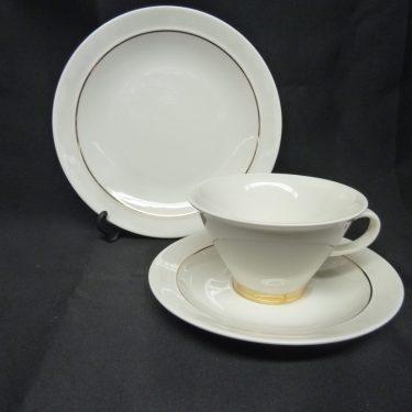 Arabia Harlekin Gold teekuppi, valkoinen, kulta, suunnittelija , kultaraita