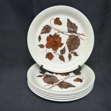 Arabia Tea for Two lautanen, 6 kpl, suunnittelija , serikuva, kukka-aihe
