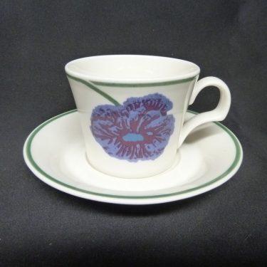 Arabia Illusia kahvikuppi, suunnittelija Fujiwo ishimoto, serikuva, kukka-aihe