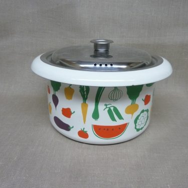 Finel Vegetaria pot, designer Heikki Orvola, 4 l, silk screening, vegetables theme