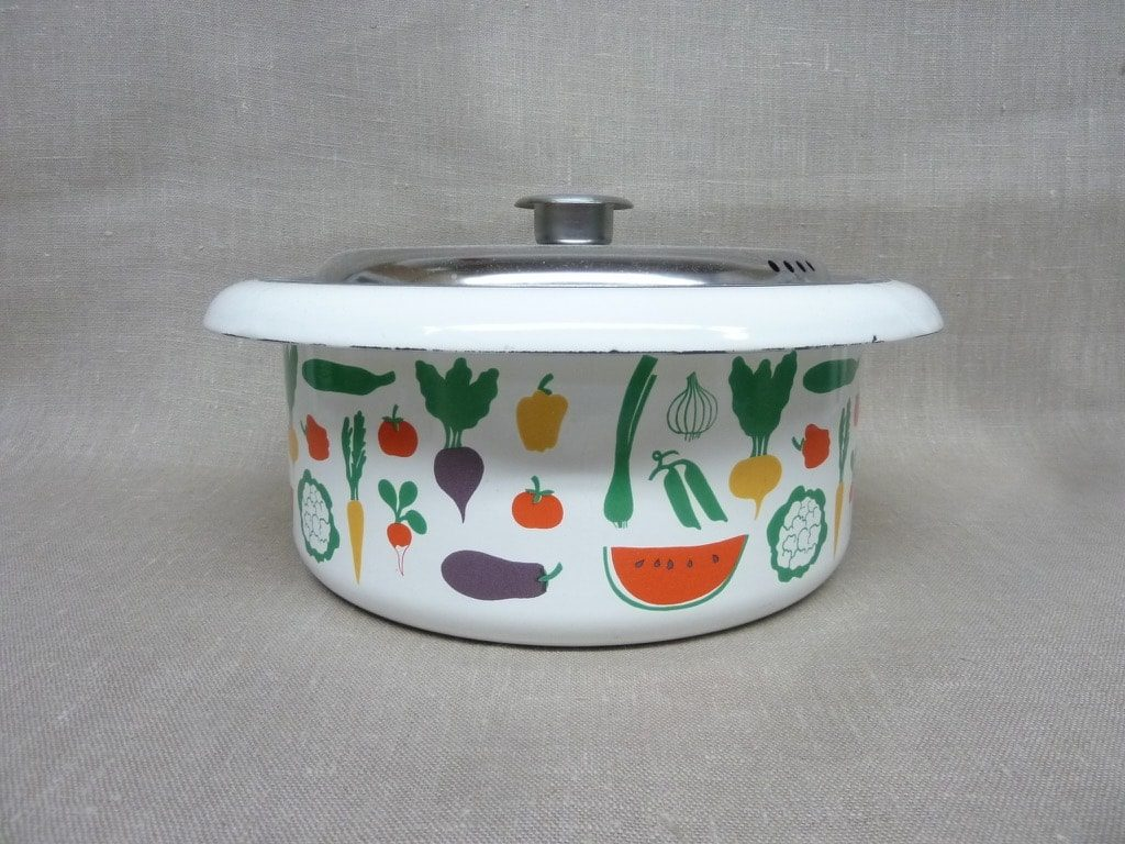 Finel Vegetaria pot, designer Heikki Orvola, 3 l, silk screening, vegetables theme