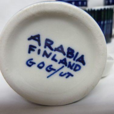 Arabia GOG 00 haarikat, Pieni, 6 kpl, suunnittelija Gunvor Olin-Grönqvist, Pieni, 5 cl, käsinmaalattu kuva 2