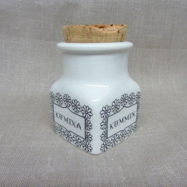 Arabia spice jar, cumin, designer Esteri Tomula, silk screening