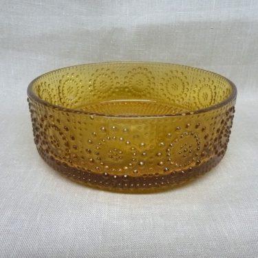 Riihimäen lasi Grapponia bowl, amber, designer Nanny Still