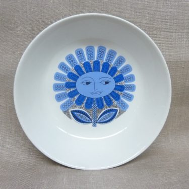 Arabia Daisy lautanen, sininen, suunnittelija Esteri Tomula, syvä