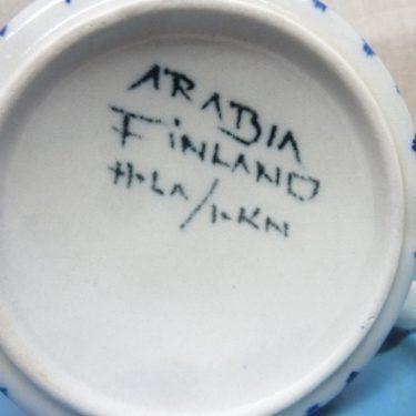 Arabia S teekuppi, suunnittelija Hilkka-Liisa Ahola, käsinmaalattu, signeerattu, retro kuva 2