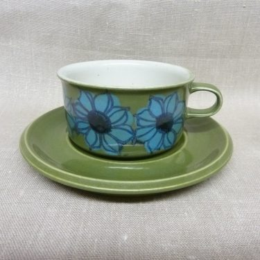 Arabia S teekuppi, suunnittelija Hilkka-Liisa Ahola, käsinmaalattu, signeerattu, retro