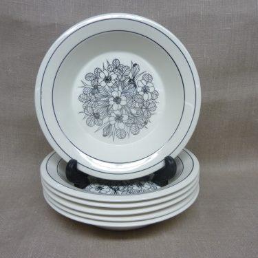 Arabia Krokus lautaset, mustavalkoinen, 6 kpl, suunnittelija Esteri Tomula, syvä
