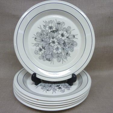 Arabia Krokus plates, black & white, 6 pcs, designer Esteri Tomula
