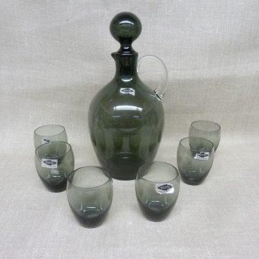 Nuutajärvi 2501 karahvi ja 6 lasia, harmaa, suunnittelija Saara Hopea,