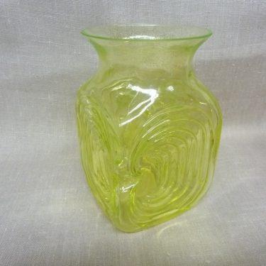 Riihimäen lasi Amuletti maljakko, keltainen, suunnittelija Tamara Aladin, retro