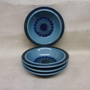 Arabia Kosmos lautaset, sininen, 4 kpl, suunnittelija Gunvor Olin-Grönqvist, syvä, puhalluskoriste