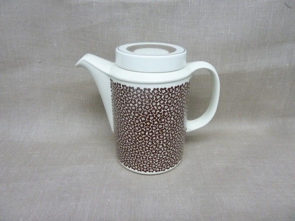 Arabia Faenza kukka coffee pot, brown, designer Inkeri Seppälä, 1 l, flower decoration