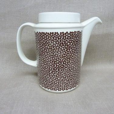 Arabia Faenza kukka coffee pot, brown, designer Inkeri Seppälä, 1 l, flower decoration, 2