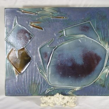 Arabia seinälaatta, käsinmaalattu, suunnittelija Maj-Britt Heilimo, käsinmaalattu, signeerattu