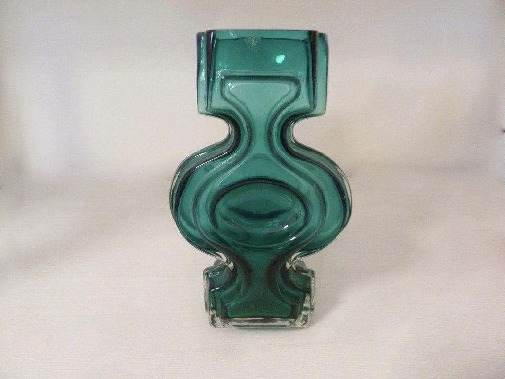 Riihimäen lasi Emma vase, turquoise, designer Helena Tynell