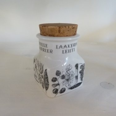 Arabia Maustekuva spice jar, bay leaf, black and white, designer Esteri Tomula, silk screening