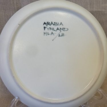 Arabia Hehku lautanen, suunnittelija Hilkka-Liisa Ahola, käsinmaalattu, signeerattu kuva 2