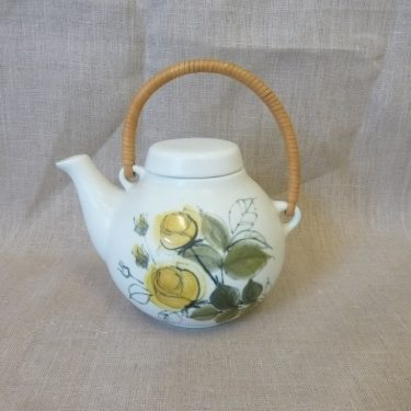 Arabia Kukka tea pot, yellow, designer Hilkka-Liisa Ahola, 70 cl, small, hand-painted