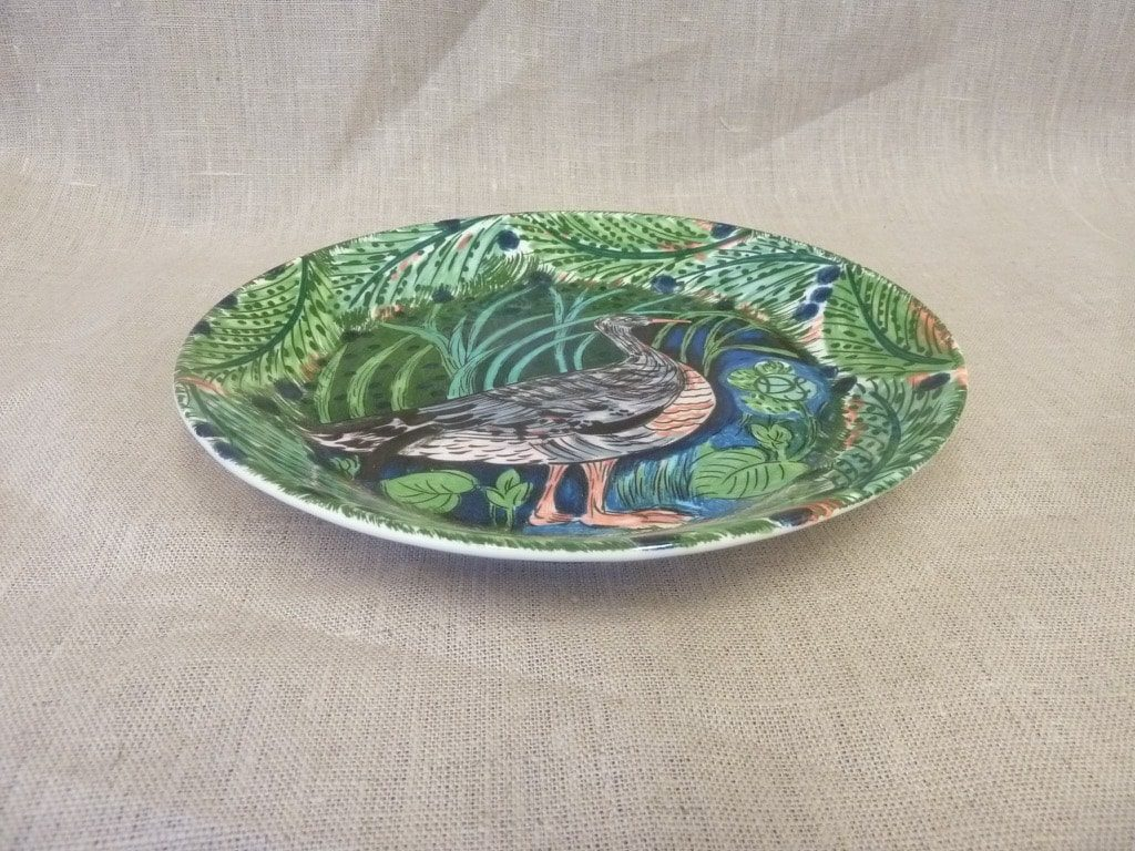Arabia Pro Arte Hubertus koristelautanen, Harmaahanhi, suunnittelija Dorrit von Fieandt, Harmaahanhi, serikuva, lintuaihe