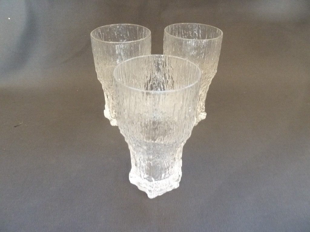 Iittala Aslak beer glass, clear, 3 pcs, designer Tapio Wirkkala, 35 cl, big