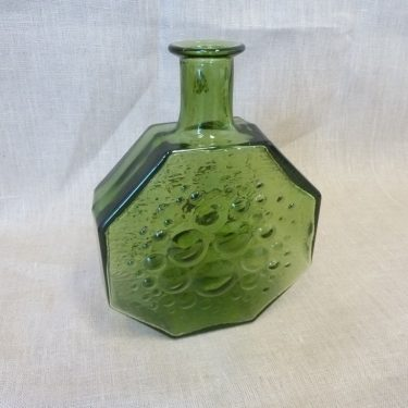 Riihimäen lasi Stella Polaris decorative bottle, green, designer Nanny Still