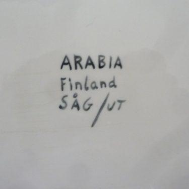 Arabia AJ61 platter, blue, designer Svea Granlund, hand-painted, signed, 2