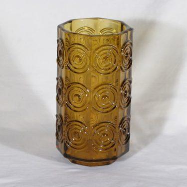 Riihimäen lasi Rengas maljakko, ruskea, suunnittelija Tamara Aladin,