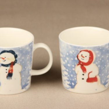 Arabia mug, 2 pcs, designer Minna Immonen, silk screening, snowman