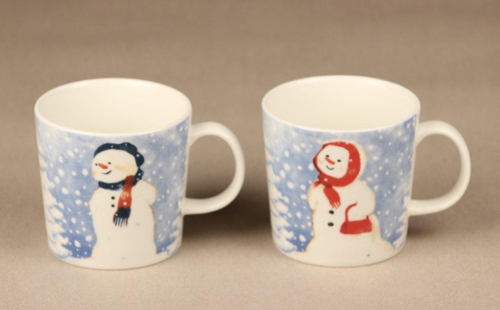 Arabia mug, 2 pcs, designer Minna Immonen, silk screening, snowman
