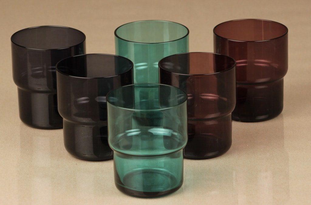 Nuutajärvi Pinottava lasi lasit, 6 kpl, suunnittelija Saara Hopea, 25 cl, eri värejä