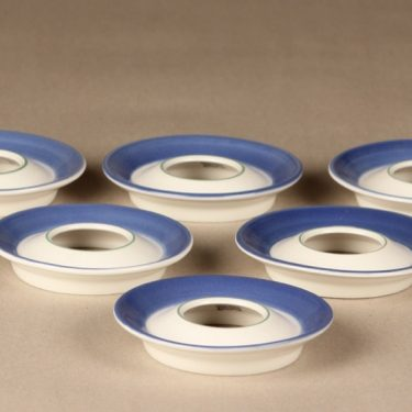 Arabia Balladi egg cups, blue and white, 6 pcs, designer Heikki Orvola, silk screening